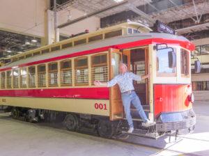 Loop Trolley car and Joe Edwards